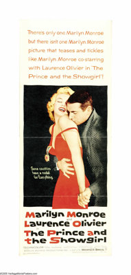 """The Prince and the Showgirl (Warner Brothers, 1957). Insert (14"""" X 36""""). Marilyn Monroe stars in this Cinderel..."""