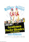 "Movie Posters:Musical, Gentlemen Prefer Blondes (20th Century Fox, 1953). One Sheet (27"" X41""). ""Two Little Girls From Little Rock,"" Jane Russell ..."