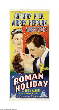 "Roman Holiday (Paramount, 1953). Australian Daybill (13.5"" X 30""). This popular romance of a young princess wh..."