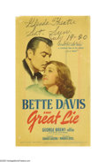 "Movie Posters:Drama, The Great Lie (Warner Brothers, 1941). Midget Window Card (8"" X14""). Mary Astor and co-star Bette Davis felt the original s..."