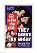 "Movie Posters:Drama, They Drive By Night (Warner Brothers, 1940). One Sheet (27"" X 41""). Over 65 years after its release, this film isn't remembe..."