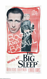 "The Big Sleep (Warner Brothers, 1946). Three Sheet (41"" X 81""). Philip Marlowe (Humphrey Bogart) is hired by G..."