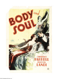 "Body and Soul (Fox, 1931). One Sheet (27"" X 41""). Humphrey Bogart made his fourth film appearance in this WWI..."