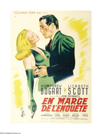 "Dead Reckoning (Columbia, 1947). French Grande (47"" X 63""). Humphrey Bogart and his friend William Prince, bot..."
