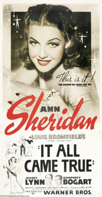 """It All Came True (Warner Brothers, 1940). Three Sheet (41"""" X 81""""). After years of playing serious gangsters an..."""