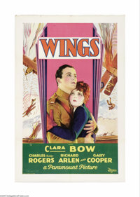 "Wings (Paramount, 1927). One Sheet (27"" X 41"") Style C. Twenty-eight-year-old director William Wellman, himsel..."