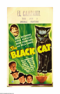 "The Black Cat (Universal, 1941). Midget Window Card (8"" X 14""). A family gathers for the will reading of a cat..."
