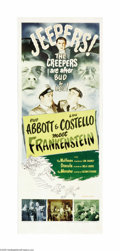 "Movie Posters:Horror, Abbott and Costello Meet Frankenstein (Universal, R-1956). Insert(14"" X 36""). The careers of Abbott and Costello were begin..."