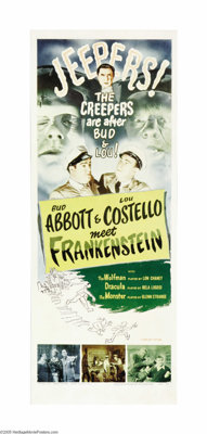 "Abbott and Costello Meet Frankenstein (Universal, R-1956). Insert (14"" X 36""). The careers of Abbott and Coste..."