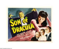 "Movie Posters:Horror, Son of Dracula (Universal, 1943). Half Sheet (22"" X 28""). LonChaney, Jr. stars as Count Alucard (Hmm...what could that spel..."
