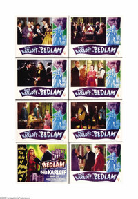 "Bedlam (RKO, 1946). Lobby Card Set of 8 (11"" X 14""). Boris Karloff stars as the evil overseer of an insane asy..."