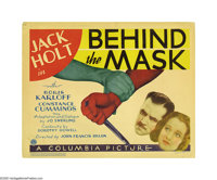 "Behind the Mask (Columbia, 1932). Title Lobby Card and Lobby Cards (2) (11"" X 14""). Boris Karloff and great ch..."