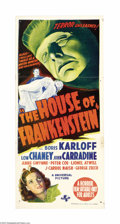 "Movie Posters:Horror, House of Frankenstein (Universal, 1944). Australian Daybill (13"" X30""). The great Boris Karloff, who was immortalized on sc..."