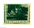 "Movie Posters:Horror, Frankenstein (Universal, R-1938). Lobby Card (11"" X 14""). Fewimages from the last century are so universal as to be a part ..."