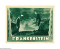 "Movie Posters:Horror, Frankenstein (Universal, R-1938). Lobby Card (11"" X 14""). BorisKarloff stars as Mary Shelley's immortal monster in this leg..."