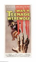 "Movie Posters:Horror, I Was a Teenage Werewolf (AIP, 1957). Three Sheet (41"" X 81"").Michael Landon of ""Bonanza"" and ""Little House on the Prairie""..."