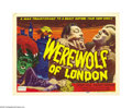 "Movie Posters:Horror, WereWolf of London (Realart, R-1951). Title Lobby Card (11"" X 14""). This Realart title card comes from Universal's first fil..."