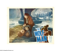 "The Wolf Man (Universal, R-1948). Lobby Card (11"" X 14""). Lon Chaney, Jr. stars as the cursed and tormented cr..."