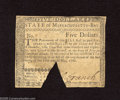 Colonial Notes:Massachusetts, Massachusetts May 5, 1780 $5 Very Fine, COC. This issue is seldomfound without its trademark cut-out-cancel....
