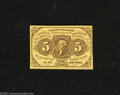 Fractional Currency:First Issue, Fr. 1230 5c First Issue Choice-Gem CU. This note is cut inside the frame line on one side with nice surfaces overall....