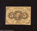 Fractional Currency:First Issue, Fr. 1230 5c First Issue Crisp Uncirculated. This note exhibits wonderful paper wave with vivid colors, but the note is not i...