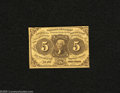 Fractional Currency:First Issue, Fr. 1230 5c First Issue About Uncirculated. This bright note exhibits a center fold and is cut very tight on the right side....