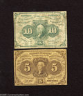 Fractional Currency:First Issue, Fr. 1230 5c First Issue Fine.Fr. 1242 10c First Issue Fine. This Fractional pair has no holes or rips, just honest even ... (2 notes)