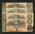 Confederate Notes:1864 Issues, A Quartet of T69 $5s 1864.. ... (Total: 4 notes)