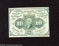 Fractional Currency:First Issue, Fr. 1242 10c First Issue Choice About Uncirculated. This note has one soft fold and a small stain on the face....