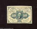 Fractional Currency:First Issue, Fr. 1242 10c First Issue Choice About Uncirculated. A couple of broad diagonal folds preclude us from grading this bountiful...