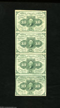 Fractional Currency:First Issue, Fr. 1242 10c First Issue About Uncirculated. Vertical Quartet. This sheet of four uncut notes are all uncirculated but on tw... (4 notes)