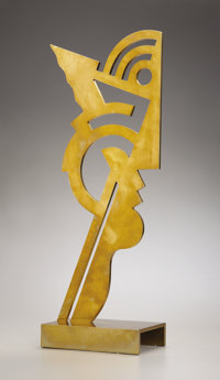 ROY LICHTENSTEIN (American 1923-1997) Untitled Head I, 1970 Brass 25-1/2 x 11 x 6 inches (64.8 x