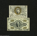 Fractional Currency:Second Issue, Fr. 1249 10c Second Issue Extremely Fine Fr. 1255 10c Third Issue Very Choice New. The Fr. 1249 is a scarce fiber pape... (2 notes)