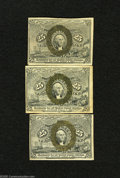Fractional Currency:Second Issue, Fr. 1283 25c Second Issue Fine Fr. 1284 25c Second Issue Very Fine-Extremely Fine Fr. 1285 25c Second Issue Extremel... (3 notes)