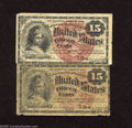 Fr. 1267 15c Fourth Issue Two Examples. One note in this lot grades Very Good-Fine with complete margins while the other...