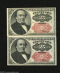 Fractional Currency:Fifth Issue, Two Fr. 1309 25c Fifth Issue Choice About Uncirculated. A duo ofshort key Walkers which are both technically AU but which b... (2notes)
