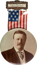 "Political:Inaugural (1789-present), Theodore Roosevelt: 3 1/2"" Real Photo Inauguration BadgeSouvenir...."