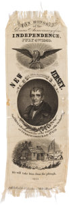 Political:Ribbons & Badges, William Henry Harrison: Silk Portrait Ribbon with New Jersey Overprint....