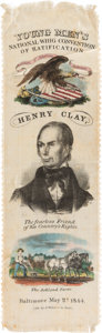 Political:Ribbons & Badges, Henry Clay: Gorgeous Multicolored Silk Portrait Ribbon From Baltimore Nominating Convention....