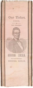 Political:Ribbons & Badges, Abraham Lincoln: Very Distinctive Pink Silk Ribbon with Black Trim....