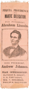 Political:Ribbons & Badges, Abraham Lincoln: Rare Pennsylvania Peace Commissioners Ribbon on Salmon Silk....