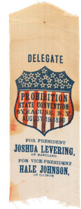Political:Ribbons & Badges, Joshua Levering: 1896 Prohibition Party State Convention Ribbon....