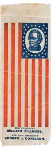 Political:Ribbons & Badges, Millard Fillmore: Large, Colorful and Impressive Silk Portrait Ribbon in Flag Format....