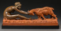 Sculpture, Affortunato Gory (French/Italian, 1895-1925). Art Deco Girl and Ram. Terracotta. 11 x 25-1/2 x 7 inches (27.9 x 64.8 x 1...