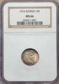 Barber Dimes, 1916 10C Barber MS66 NGC. NGC Census: (34/7). PCGS Population:(54/7). MS66. Mintage 18,490,000. ...