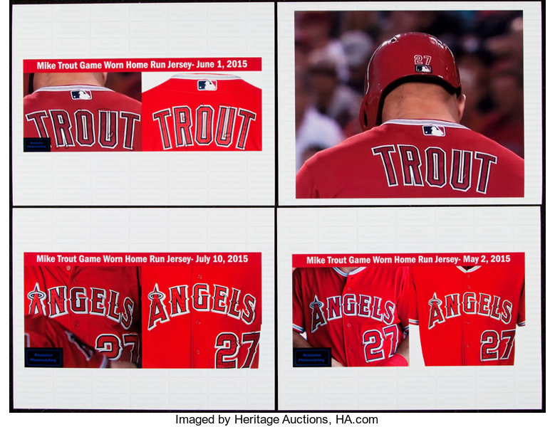 super popular da32e 15b12 2015 Mike Trout Game Worn, Signed Los Angeles Angels of ...