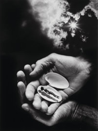 Jerry Uelsmann (American, b. 1934) Untitled (Hands and shell), 1987 Gelatin silver 19-1/4 x 14-1/