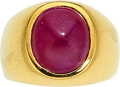 Estate Jewelry:Rings, Gentleman's Ruby, Gold Ring, Gary Ewing  The r...