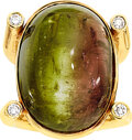 Estate Jewelry:Rings, Gentleman's Cat's-Eye Tourmaline, Diamond, Gold Ring, Gary...