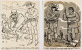 Ed Wagner - Lone Ranger Single Panel Gag Cartoons Original Art Group of 2 (c. 19 Comic Art